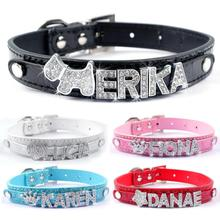 DIY Name Dog Collars Croc Leather Personalized Pet Cat Collars with 10MM Rhinestone Letters Pink Collar(China)