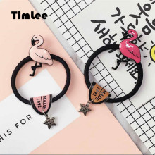 Timlee H023 Cute Flamingo Bird Hair band Retro student Hair Accessary Gift(China)
