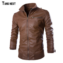 Buy TANGNEST Men's Leather Jacket 2018 New Arrival Men PU CasuaL Solid Jacket Male Slim Stand Collar Jackets MWP187 for $55.16 in AliExpress store