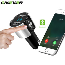 Onever Wireless Bluetooth FM Transmitter In-Car MP3 Player Bluetooth Transmitter Radio FM Transmitter with Dual USB Port Charger(China)
