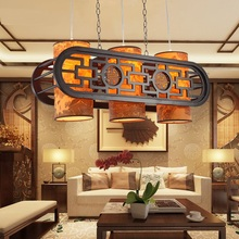 Chinese Pendant Lights solid wood antique sheepskin living room table lamp three restaurants tea houses aisle Pendant Lamps(China)