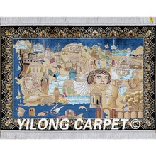 Yilong 3'x4.5' Turkish silk area carpet handiwork egyptian pyramids tapestry rug (0014)(China)