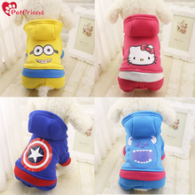Small Pet Dog Jumpsuit Hoodie Doggie Clothes Captain America Minions Hello Kitty Animat Character 4 Feet Dog Clothing