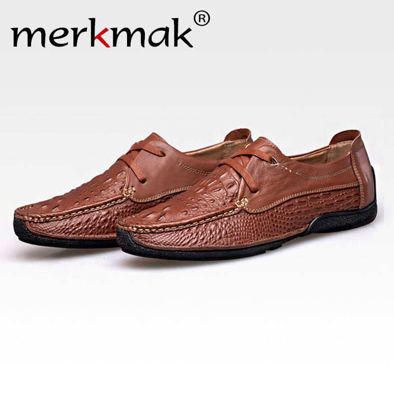 Merkmak Oxford Shoes Men Loafer 2016 Genuine Leather Fashion Casual Business Driving Men Shoes Casual Breathable Flats moccasins<br>