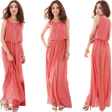 Promote Ladies Chiffon A Dress Big Size XXXL Women Summer Long Dress Ankle Length Female Casual Chiffon Gowns