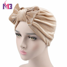 New Fashion Women Velvet Turban with Bow Femmel Stretch Velvet Turban Headband Hat Bowknot Turbante for Women(China)