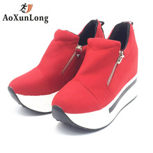 Autumn Wedges Women Boots 2017 New Platform Shoes Women Creepers Slip On Ankle Boots Fashion Women's Casual Canvas Shoes Mujer