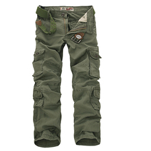 2017 Men Cargo Pants Army Green Multi Pockets Combat Casual Cotton Loose Straight Trousers Size 46 Male Easy Wash Pants no belts(China)