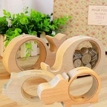 1Pc Wooden Money Boxes animal Pattern Transparent Coin Bank Nordic style Best Gifts For Kids Decoration Coin Pot #45(China)