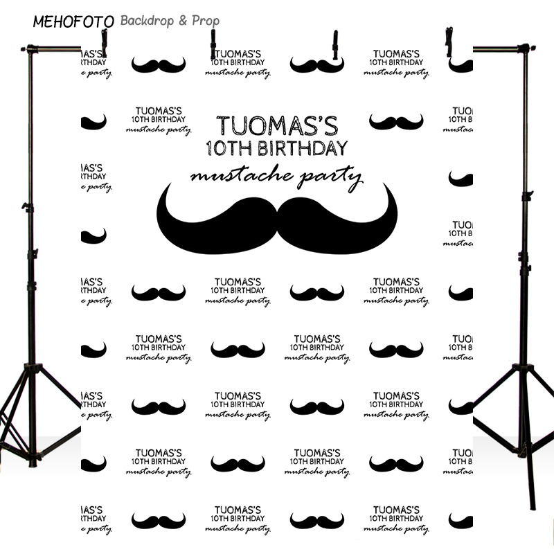 HIS MUSTACHE PARTY PRINTED PHOTO BACKDROP STEP AND REPEAT BANNER (BIRTHDAY, BABY SHOWER, WEDDING) PA-014<br>