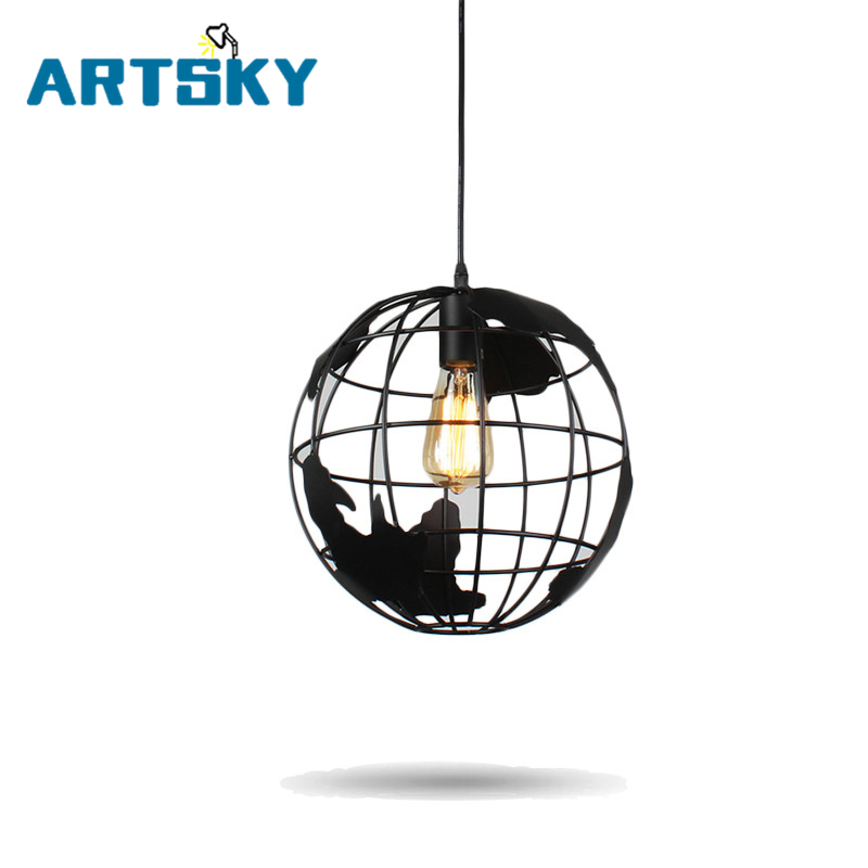 European Modern Simple Pendant Lights  Creative Art Globe Iron LED Cafe Aisle Bedroom Bar Restaurant Lamp<br>