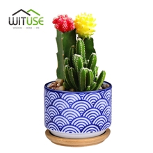 WITUSE 6Pcs flowerpots Succulent Plants Pots Decorative Ceramic Garden Pot Japanese Style Flower Pot Indoor Plant Pot Trays(China)