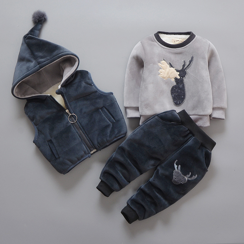 Kids Boys Clothing Sets 2018 New Winter Solid Cartoons Pullovers Thicken Coats Striped Pants 3pcs Sets Baby Boys Clothes 6cs152<br>