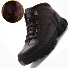 Men Winter Boots 2017 Top Quality Genuine Leather Snow Boots Men Outdoor Martin Boots Cow Leather Work Hiking Shoes Size 38~44