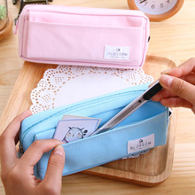 1 Pc Fabric Pencil Bag For Primary School Student Light And Soft School Pencil Cases 200x51x88mm 2 Colors Deli 66725(China)