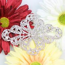 1Pc Silver Rhinestone Applique Bridal Sash Applique Rhinestone Crystal Patch Trim Wedding Belt