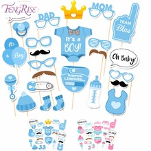FENGRISE Baby Shower Decoration 25 Pieces Its A Boy Girl Photo Booth Props Birthday Blue Pink Baptism Party PhotoBooth Supplies