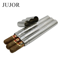 JUJOR 304 Stainless Steel Three Cigars Tube/Box Mirror Polished High Quality Portable Cigar Accessories and Gift