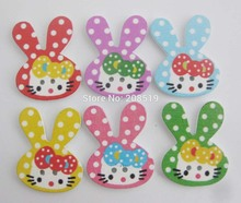 WBNWWL printed rabbit kitty bows buttons for children garment multicolor 100pcs wood button sewing supplies
