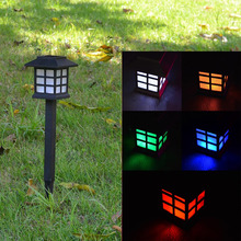 4pcs/lot Waterproof solar light changeable 7 colour Cottage solar lamp LED Spot Light Landscape Outdoor Garden Path Lawn lamp