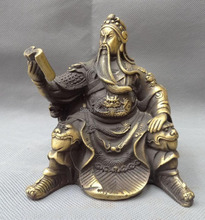 China Bronze Dynasty Dragon Head Warrior Sit GuanGong Guan Yu Read Look Statue
