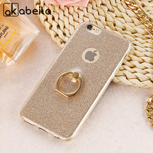 AKABEILA Case For Apple iPhone 6 6G iphone6s 4.7 inch Soft TPU Cover Luxury Finger Ring Glitter Back Case with Stand Holder(China)