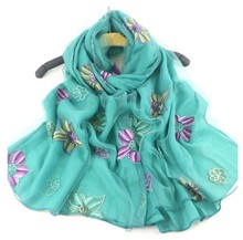 Hot Sale Free shipping Embroidery 2 layers cotton scarf Floral Shawl Cheap Muffler Hijab Muslim Head Wrap Best selling(China)