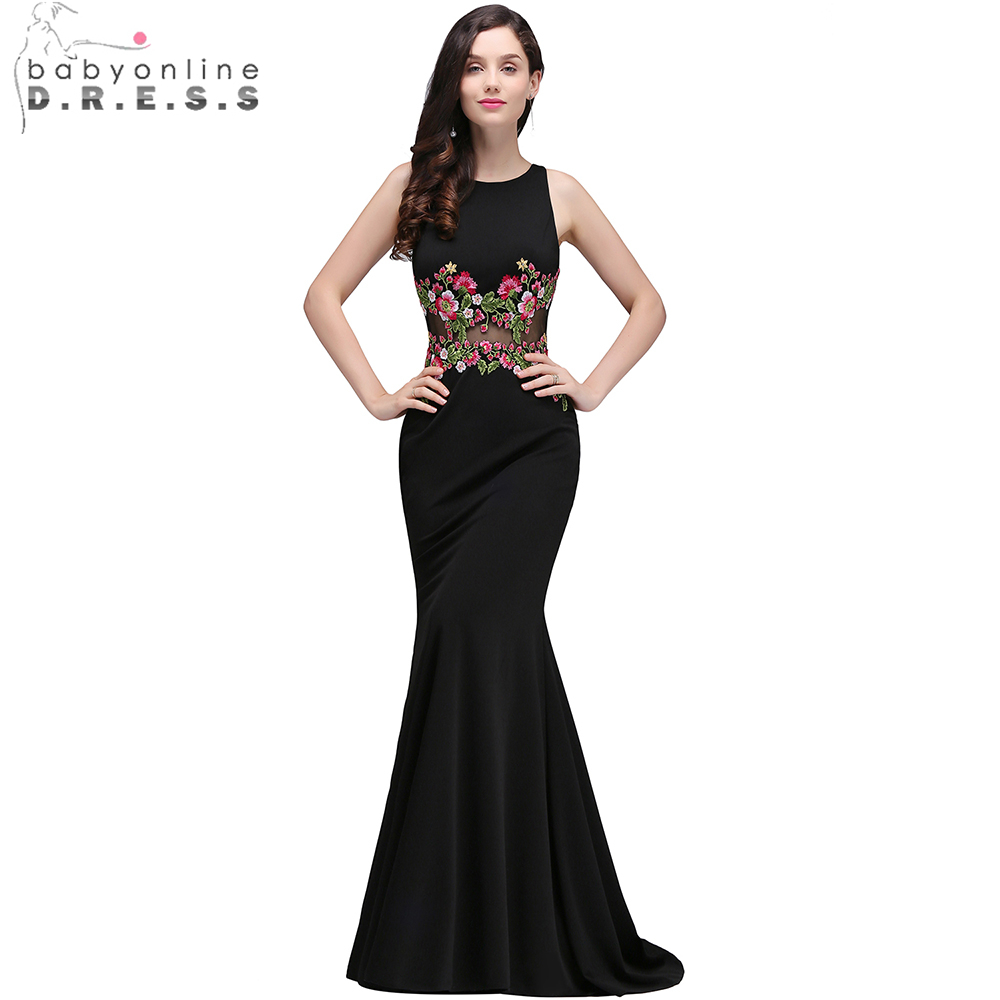 Babyonline Gorgeous Black Embroidery Flower Mermaid Evening Dresses 2017 Formal Party Dresses Sleeveless vestido de festa(China)