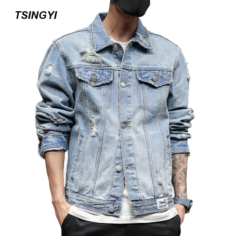 Tsingyi Retro White Destroy Wash Hole Vintage Women Men Denim Jacket Turn-down Collar Long Sleeve Blue Men Bomber Jeans Jacket