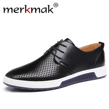 Buy Merkmak Hot Sale Men Flats Shoes Spring Summer Oxfords Genuine Leather Breathable Holes Casual Shoes Outdoor Man Plus Size 37-48 for $23.99 in AliExpress store