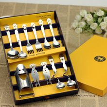 Creative 11pcs/set Happy Smiling Face Stainless Steel Tableware Happy Family Portable Cutlery Set