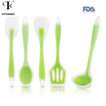 5pcs/set Kitchen Cooking Utensil Set Heat Resistant Cooking Tools including Spoon Turner Spatula Soup Ladle Color Green(China)