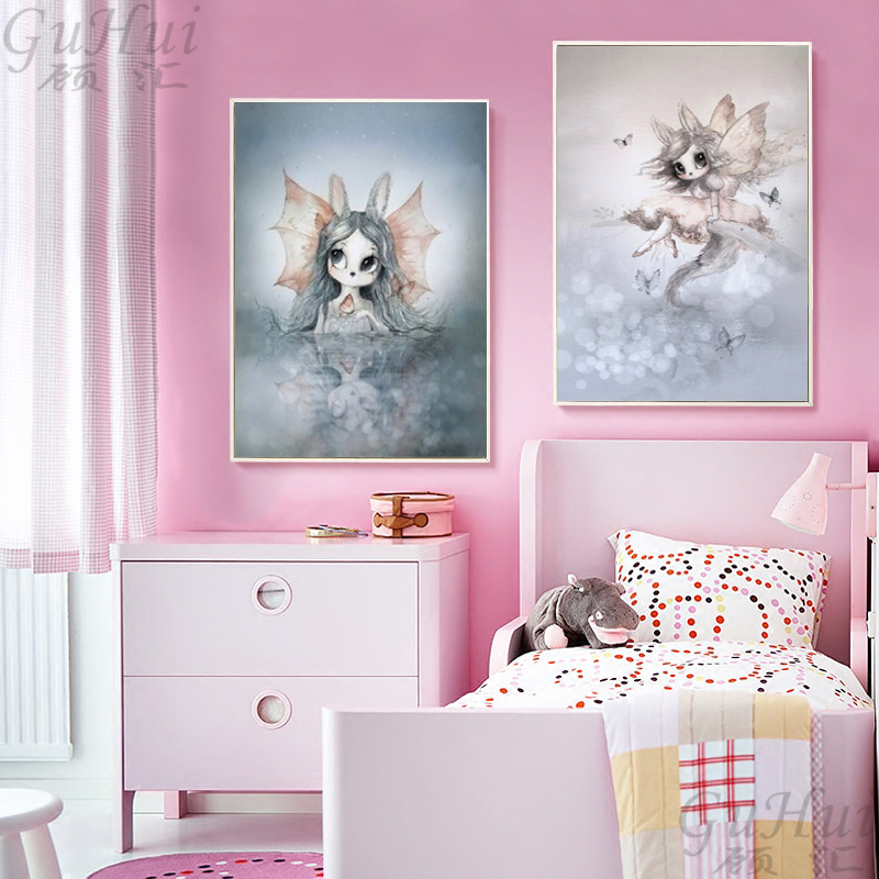 Lovely-Nordic-Cartoon-Elephant-Deer-Rabbit-Canvas-Art-Painting-Print-Poster-Picture-Wall-Baby-Children-s