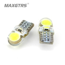 10x Car LED T10 194 W5W COB+Silicone Shell Auto Dome Lights Car Side Wedge Light Lamp Bulb White/Blue/Pink/Ice Blue Car Styling
