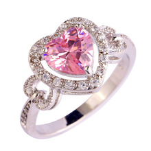 Lingmei Factory direct sale gems pink CZ Silver Ring Size 6 7 8 9 10 Fashion 925 Jewelry Gift Women wholesale Free shipping