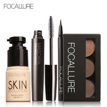 FOCALLURE Makup Tool Kit 4 PCS Must Have Cosmetics Including Foundation Mascara Eyeliner Eyebrows Makeup set