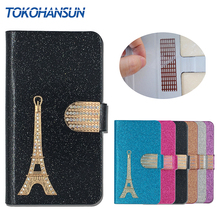 For Philips Xenium V526 Case Flip PU Leather Cover Phone Protective Bling Effiel Tower Diamond Wallet TOKOHANSUN Brand