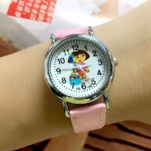 Big Deal 10 Pieces/Lot Dora Character Leather Children Quartz Watches Cute Cartoon Girls Casual Wristwatches Girls Wholesale Hot
