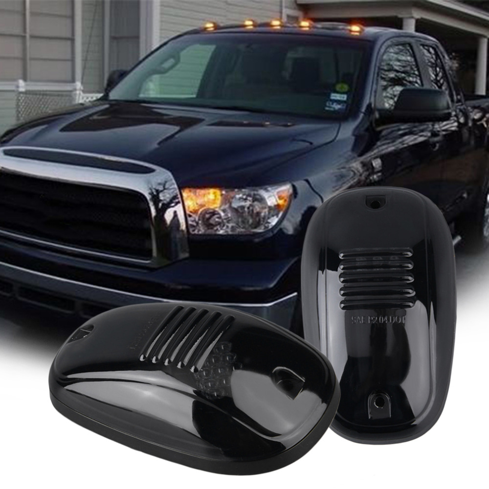 5pcs Amber LED Cab Roof Top Marker Running Lights For Truck (Black Smoked Lens Lamps)Amber LED Light For SUV<br>