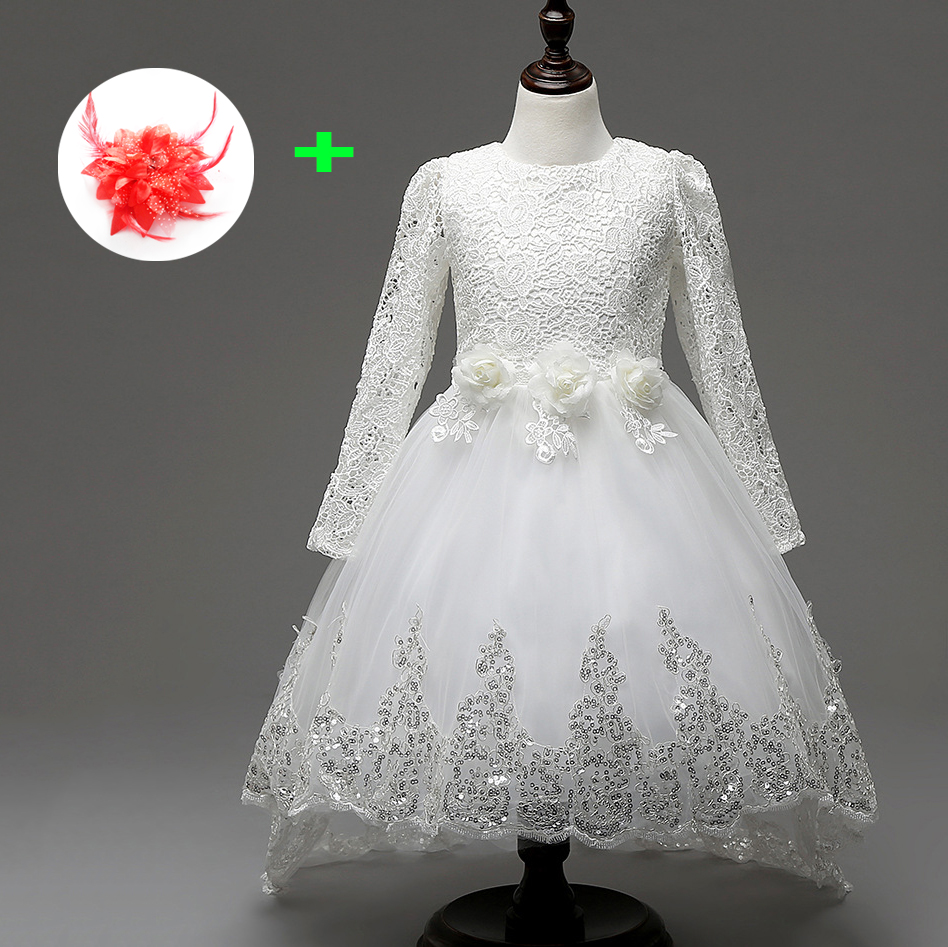 kids ball gowns formal back big bow white appliqued lace flowers long sleeve children wedding dresses for little girls<br>