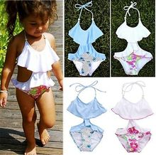 2016 New Summer Bathing Suit Girls split One-piece Swimwear,Children Cute Floral Pattern Split Swimwear Girls Swimsuit Wholesale