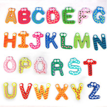 Free Shipping 2016 Hot Sale New Kids Toys 26pcs/set Wooden Cartoon Alphabet ABC~XYZ Magnets Child Educational Wooden Toy Gift