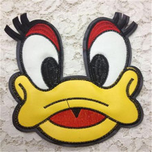 Embroidered iron on patches for clothes PU deal with it clothing DIY Donald Duck Motif Applique New year gift Free shipping