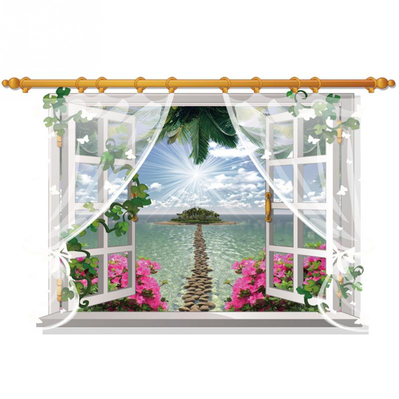 HTB1sU08hwmTBuNjy1Xbxh5MrVXav - 3D Window View Nature Landscape Wall Sticker  For Living Room