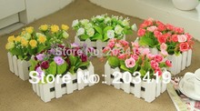 1set Artificial diamond roses bouquets+fence vase slik flowers plants for Wedding Party Home Decor gift craft  wholesale retail