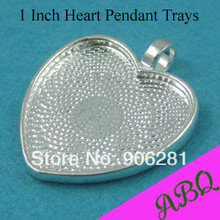 25mm Heart Blank Pendant Trays, 1 Inch Shiny Silver Heart Cabochon Setting