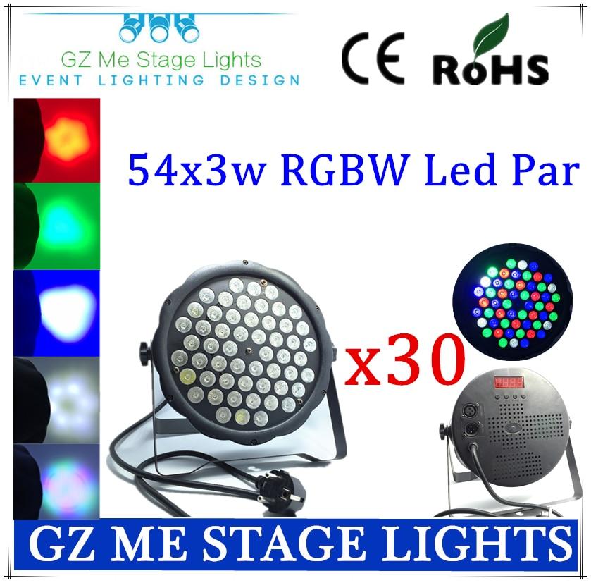 30PCS/lot Big Led stage light 54x3W  110-230V High Power RGBW Par Lighting With DMX 512 Master Slave Led Flat DJ Auto-Controller<br>