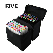 FIVE Generation Art Markers 36/48 Color Set Twin Oily Mark Pen Students Interior Design Art Markers(China)