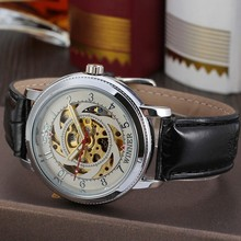 WINNER New fashion watch Swiss man fashion leisure windmill hollowing automatic mechanical watches wholesale 143(China)