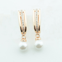 Fashion 3.3cm Long Earrings Women 585 Rose Gold Color Simulated Pearl Ball Round Shaped Crystal Drop Earrings(China)